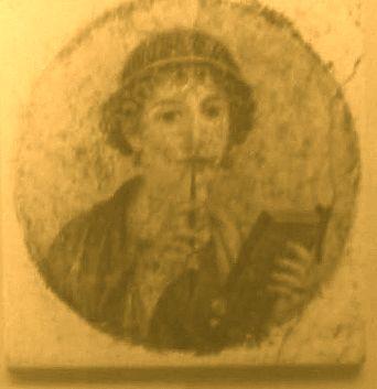 Römerin beim schreiben und sinnieren